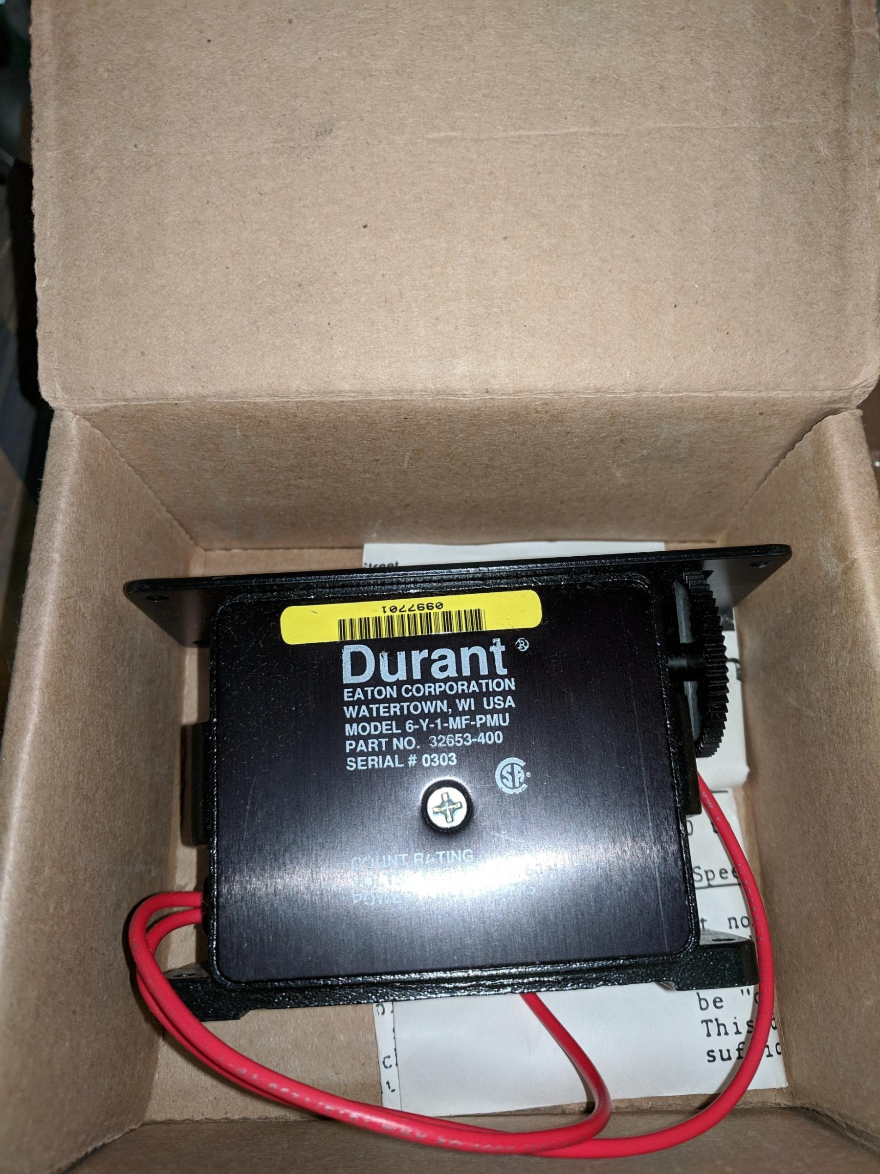 Durant 6-Y-1-MF-PMU 120VAC Panel Mount 6-Digit Counter New in Box