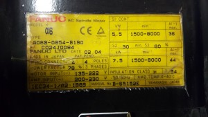 Fanuc A06B-0854-B190 Spindle Servo Motor - Reconditioned