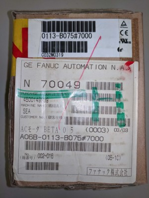 Fanuc A06B-0113-B075 #7000 Servo Motor Beta 0.5/3000 - Factory Sealed Package!