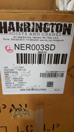 HARRINGTON NER003SD ELECTRIC CHAIN HOIST Repaired
