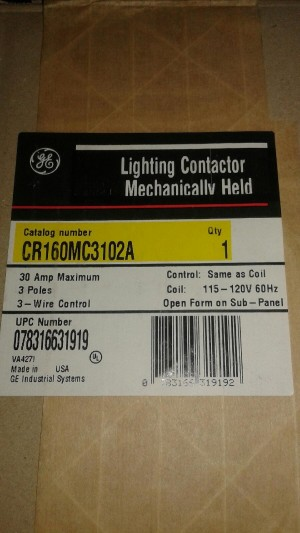 GENERAL ELECTRIC CR160MC3102A LIGHTING CONTACTOR MECHANICALLY HELD Sealed in Factory Packaging
